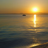 Beautiful sunset. Over Greek coasts Royalty Free Stock Images