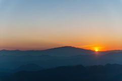 Beautiful sunset. With layers of colors over the mountains Royalty Free Stock Images