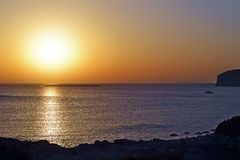 Beautiful sunset. A beautiful sunset in Crete, Greece stock photos