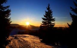 Beautiful sunset. In Smrekovica, Slovakia stock photo