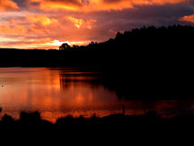 Beautiful sunset. In the lake royalty free stock photos