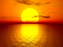 Beautiful sunset. Generated in PS stock image