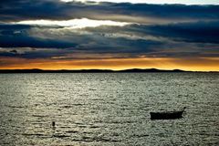 Beautiful sunset above Adriatic sea in Dalmatia. Beautiful sunset above sea in Dalmatia, Zadar, Croatia Stock Photography