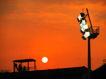 Beautiful Sunset above Baseball Stadium Royalty Free Stock Photos