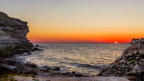 Beautiful Sunset Above Black Sea At Rocky Beach At stock video