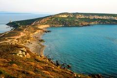 Beautiful sunset above the coast of Mediteranian Sea Stock Images