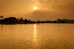 Beautiful sunset above the river Royalty Free Stock Image