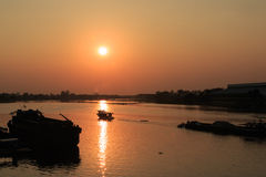 Beautiful sunset above the River Royalty Free Stock Photos
