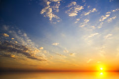 Beautiful sunset above the sea. stock images