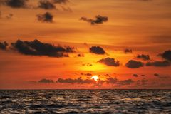 Beautiful sunset above the sea Stock Images