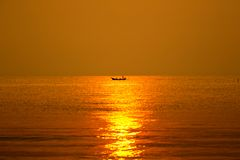 Beautiful sunset above the sea,huahin thailand Royalty Free Stock Images