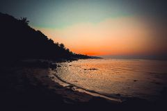 Beautiful sunset above the sea on island in Koh Royalty Free Stock Photos