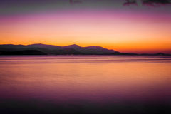 Beautiful sunset above the sea on island Royalty Free Stock Photo