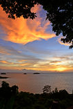Beautiful sunset above the sea in Koh Chang, Trat Royalty Free Stock Images
