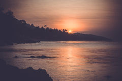 Beautiful sunset above the sea on  Koh Samui Royalty Free Stock Photography