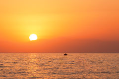 Beautiful sunset above the sea Stock Photo