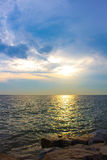 Beautiful sunset above the sea Stock Photos