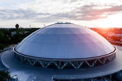 Sunset above Sports and Entertainment Hall in Opole Poland Royalty Free Stock Photos
