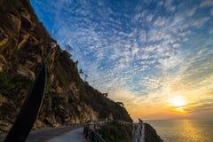 Beautiful sunset at acapulco la quebrada Stock Images