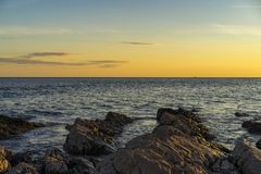 Beautiful sunset at Adriatic Sea in Croatia Europe. Royalty Free Stock Images