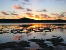 Beautiful sunset in Aitutaki, Cook Islands royalty free stock images