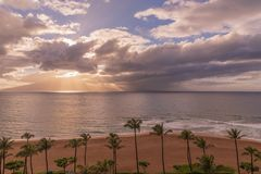 Sunset on Kaanapali Beach. A beautiful sunset along Kaanapali beach on the island of Maui stock photography