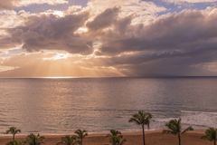 Sunset on Kaanapali Beach Maui. A beautiful sunset along Kaanapali beach on the island of Maui stock images