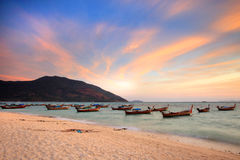 Free Beautiful Sunset And Local Fishing Boats On Seaside At Lipe Island Stock Photo - 58200640