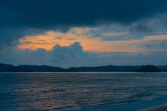 Beautiful sunset and the Andaman Sea in Thailand. Krabi Province Royalty Free Stock Images