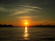 Beautiful sunset. Sunset in Athens Piraeus Port Stock Photos