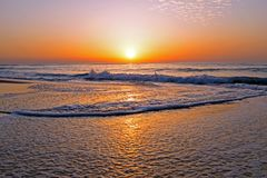 Beautiful sunset at the atlantic ocean in Portugal. Europe Royalty Free Stock Photos
