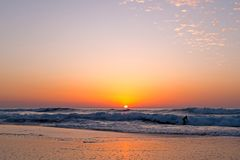 Sunset at the atlantic ocean in Portugal. Beautiful sunset at the atlantic ocean in Portugal Europe Royalty Free Stock Photos