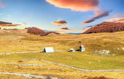 Beautiful sunset in autumn in Durmitor, Montenegro Stock Photos