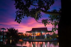 Beautiful sunset in balekumambang park Stock Images
