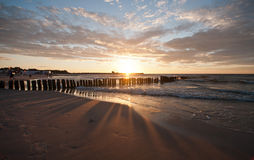 Beautiful sunset at baltic beach in Poland. Ustka Royalty Free Stock Photography