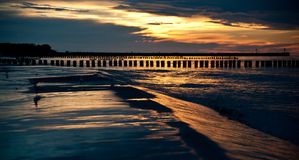 Beautiful sunset at baltic beach in Poland. Ustka Stock Photos