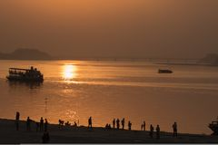 Sunset on the banks of river Brahmaputra, Guwahati Stock Images
