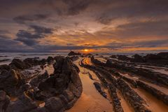 Sunset at Barrika Beach stock photography