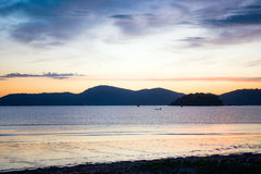 Beautiful sunset in the bay of Paraty, Brazil stock photography