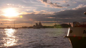 Beautiful Sunset in the bay of San Marco. Venice. Italy. stock video footage