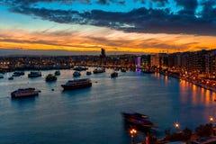 Beautiful sunset in the bay of Sliema, Malta royalty free stock photo