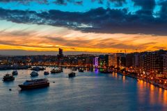 Beautiful sunset in the bay of Sliema, Malta stock images