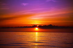 Beautiful sunset on the beach. Beautiful sunset on the tropic beach Royalty Free Stock Photography