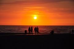 Beautiful Sunset. On the beach stock photo