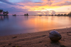 Beautiful sunset on the beach in Ban Saphan,Thailand.  Stock Photos