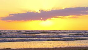 Beautiful sunset on the beach, through the clouds, the waves roll and the seagulls fly. Shot 4k stock video footage