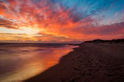 Beautiful sunset on the beach.  Stock Images