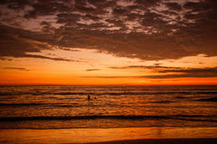 The beautiful sunset on the beach of Ecuador. The beautiful sunset on the beach of Puerto Lopez, Ecuador royalty free stock photography