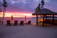 Beautiful sunset at the beach on Gili Meno Indonesia Royalty Free Stock Photography