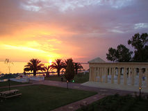 Beautiful sunset beach hotel in Greece Royalty Free Stock Images